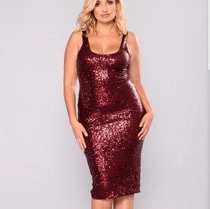 Fashion Nova Sequin burgundy dress